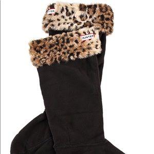Hunter Leopard Cuff Welly Socks